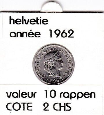S 1) pieces suisse de 10  rappen de 1962  voir description &