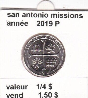 e 3)pieces de 25 cent  2019 P  san antonio missions