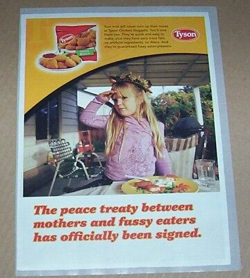 2008 Print Ad Page   Tyson Foods Chicken Nuggets Cute Little Girl Advertising