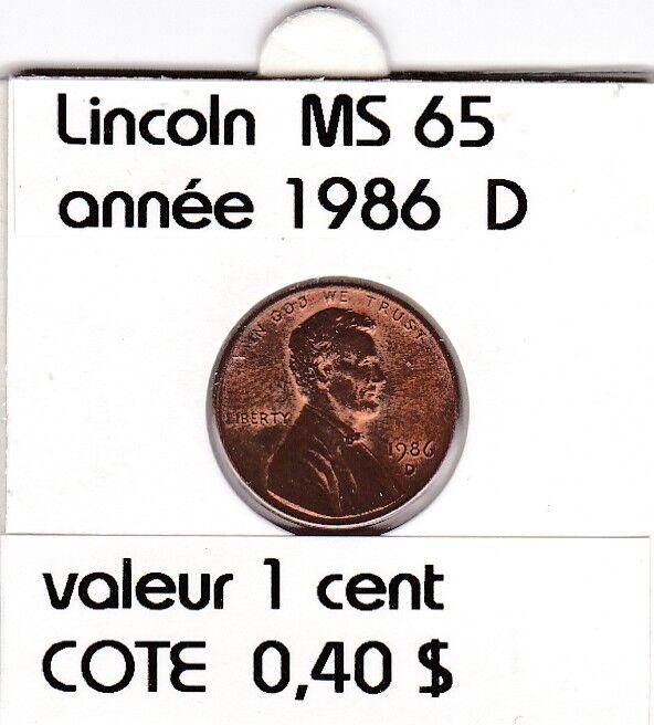 e2 )pieces de 1 cent  1986   D    lincoln