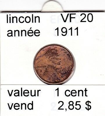 e 2 )pieces de 1 cent lincoln  1911      voir description