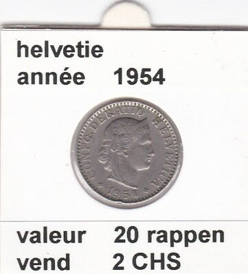 S 2) pieces suisse de 20  rappen de 1954  voir description