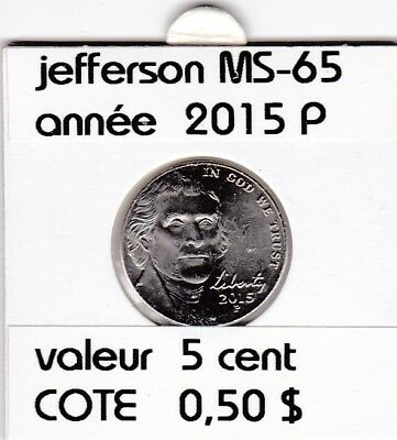 e3 )pieces de 5 cent  2015 P  jefferson