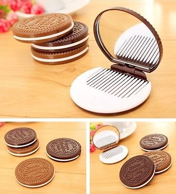 Cute Chocolate Cookie Shaped Design Pocket Mirror Makeup w/ Comb  USA - Shaped Mirrors