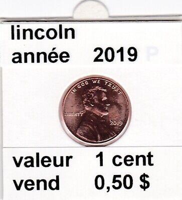 e 4 )pieces de 1 cent  2019  lincoln