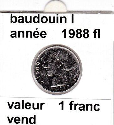 BF 3 )pieces de 1 francs  baudoui 1   1988 belgie