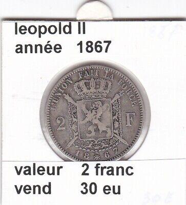 FB 3 )pieces de leopold II  2 franc 1867 belgique