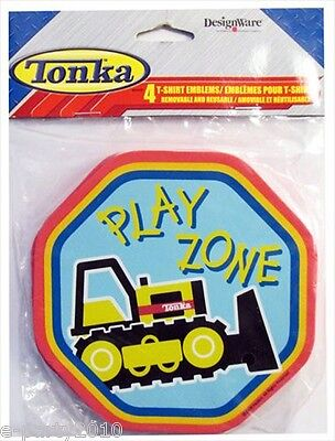 TONKA T-SHIRT EMBLEMS (4) ~ Construction Birthday Party Supplies Favors Trucks - Tonka Truck Party Supplies