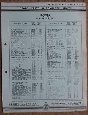 Rover 14hp & 16hp model 1939  Lucas Parts List 369A