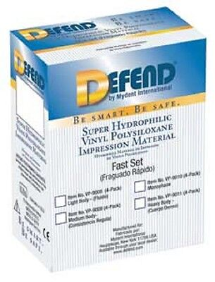 Defend Vps Impression Material Light Body Fast Set 4 X 50 Ml Cartridges Dental