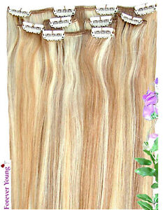16 18 20 blonde clip in human hair extension 27 613 ebay