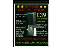 PC TOWERS DESKTOP COMPUTER..DELIVER&SETUP..READY2USE