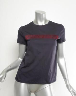 Chanel AW003 Damen Marineblau samt Gabrielle Logo Baumwolle T-Shirt Top 4-36 Neu