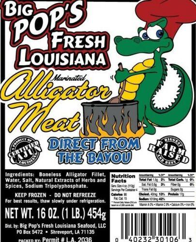 Alligator Meat Farm Raised Tenderized Twice (5) 1 Pound Package Per Box Frozen