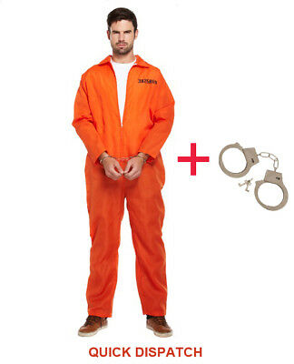 Orange Convict Costume (MENS PRISONER OVERALL ORANGE JUMPSUIT CONVICT STAG DO PARTY FANCY DRESS)