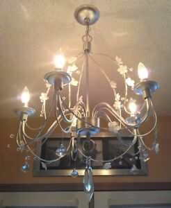 Mint, Newly Refinished! 5-Light Crystal Decorated Chandelier
