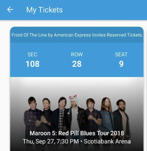 SELLING TWO MAROON 5 TICKETS ASAP! SECTION 100
