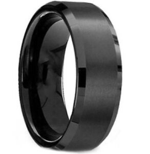 Tungsten titanium men ring black size 8