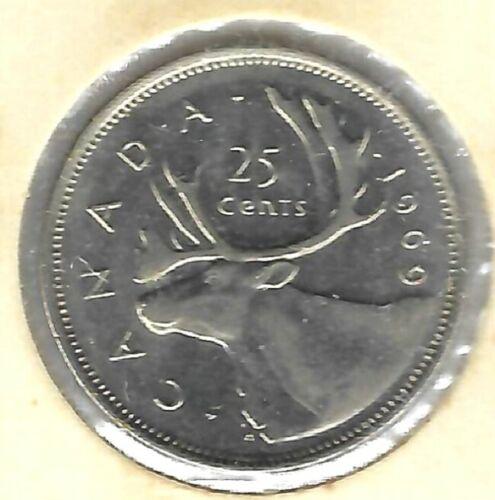 1969 Canada Elizabeth II Uncirculated 25C coin!