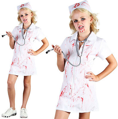Childrens Kids Zombie Nurse Fancy Dress Costume Halloween Outfit Childs 6-10 Yrs - Kids Nurse Outfit