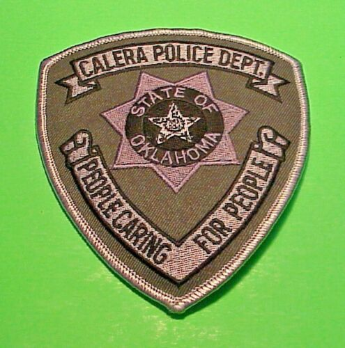 CALERA OKLAHOMA OK PEOPLE CARING FOR PEOPLE ( SILVER  BORDER  )  POLICE PATCH