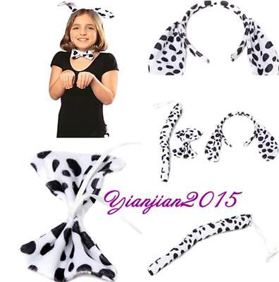Unisex Dalmatian Ears Tail and Bow Tie Set Funny Fancy Dress Costume Hen Party A - Dalmatian Ears And Tail