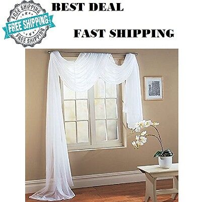 Pure White Sheer Window Wedding Scarf Drape Panel Curtain Swag Voile 56
