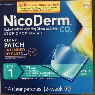 14 Nicoderm CQ Step 1 Nicotine 21 mg Patches STOP SMOKING aid 2 week kit 10/2017