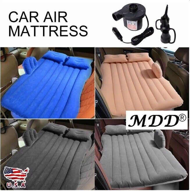 Pump 2 Pillows Inflatable Travel Camping Car Seat Sleep Rest Mattress Air Bed
