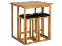 NEW Natural Oak Breakfast Bar Table Table & 2 Stools FREE DELIVERY 544