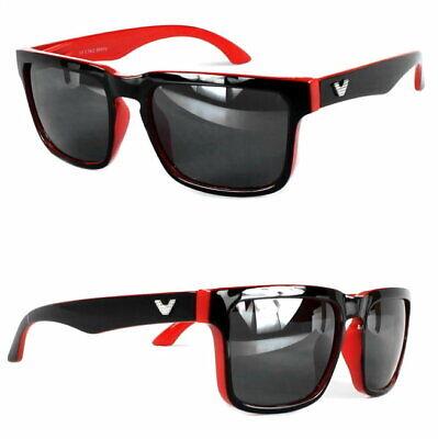 Rechteck Sonnenbrille Nerd Rot Schwarz Bi Color Herren Black Shiny Edition V1