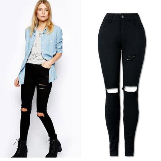 Women Denim SKINNY Ripped Pants High Waist Stretch Jeans Slim ...