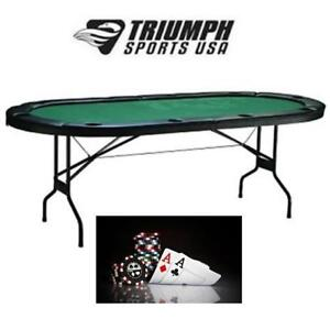 "NEW TRIUMPH FOLDING POKER TABLE 46-2015 187763982 84"" x 42"" x 30"" - PADDLE FELT - W/ 10 DRINK HOLDERS"