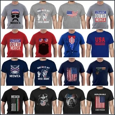 American Flag T-Shirt  Distressed Tee 4th Of July Trump Bacon Merica Vintage - 4 Of July Shirts