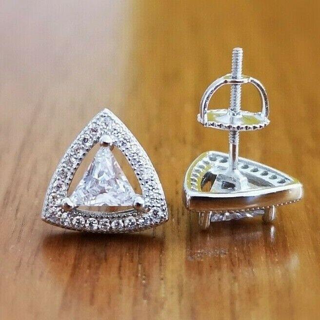 Trillion cut Diamond Halo Stud Earrings 14K White Gold over Women's Stud Earring