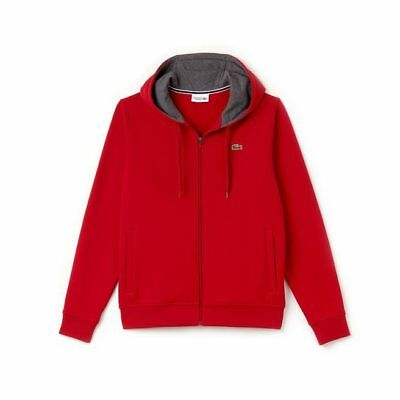 Lacoste Red/Pitch Sport Full Zip Brushed Fleece Hoodie Red Brushed Fleece