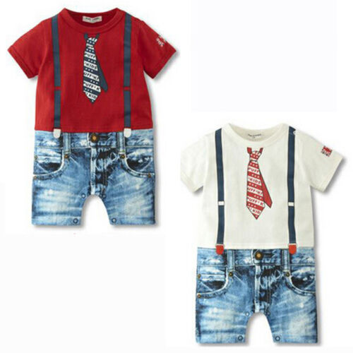 US Stock Summer Newborn Baby Boy Romper Jumpsuit Outfits Tie