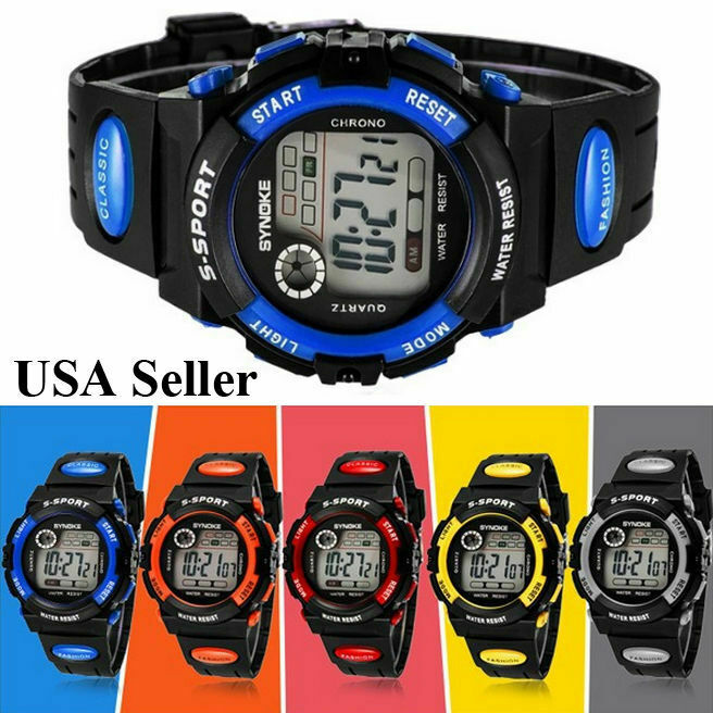 New Child Boys Girls Kids Sports Digital Watch LED Waterproof Watches US FAST Jewelry & Watches