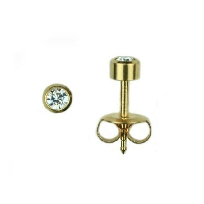 24K Gold Over Surgical Stainless Steel Ear Piercing April