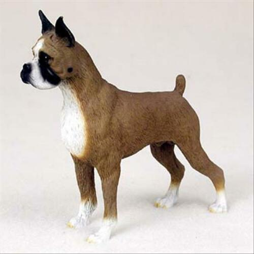Boxer Cropped Ears Dog Hand Painted Collectable Figurine Statue