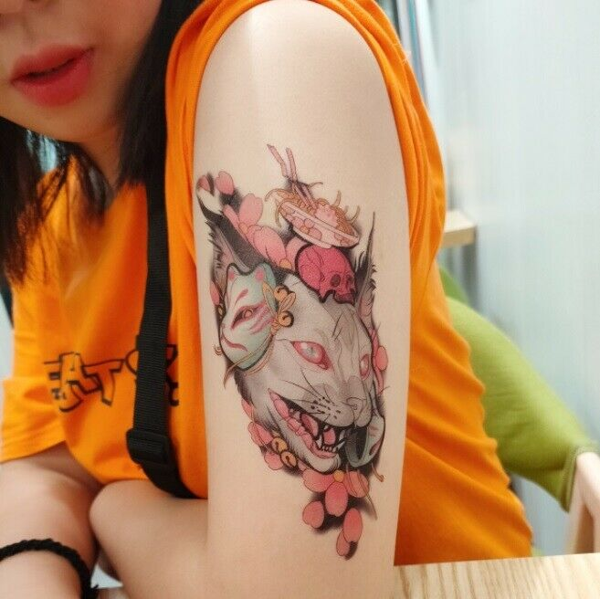 как выглядит Sakura Evil Cat Tattoo Waterproof Temporary Leg Sleeve Tattoo фото