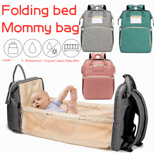 3in1 Baby Diaper Bag Mummy Nappy Backpack Portable Bassinet Crib Large Foldable Baby