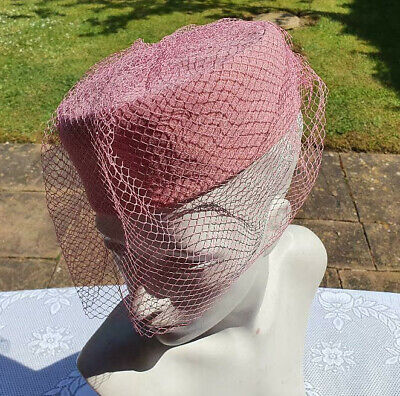 Vintage KANGOL Ladies Pink Hat with netting 1960's
