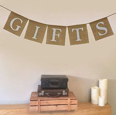 Rustic Burlap Gift Banner Bunting Sign for Baby Shower ,Engagement ,Wedding  - Rustic Baby Shower