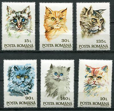 ROMANIA 1993 DOMESTIC CATS MINT COMPLETE SET OF  6 STAMPS