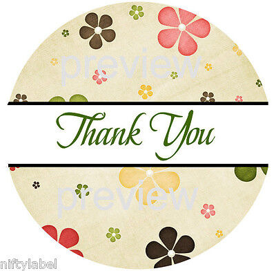 Flower Power Design 113 Thank You Sticker Labels - Laser Printed