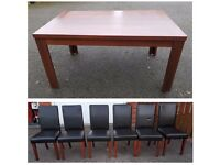 Dark Wood Veneer Dining Table 150cm & 6 Brown Faux Leather Mid/High Back Chairs FREE DELIVERY 688