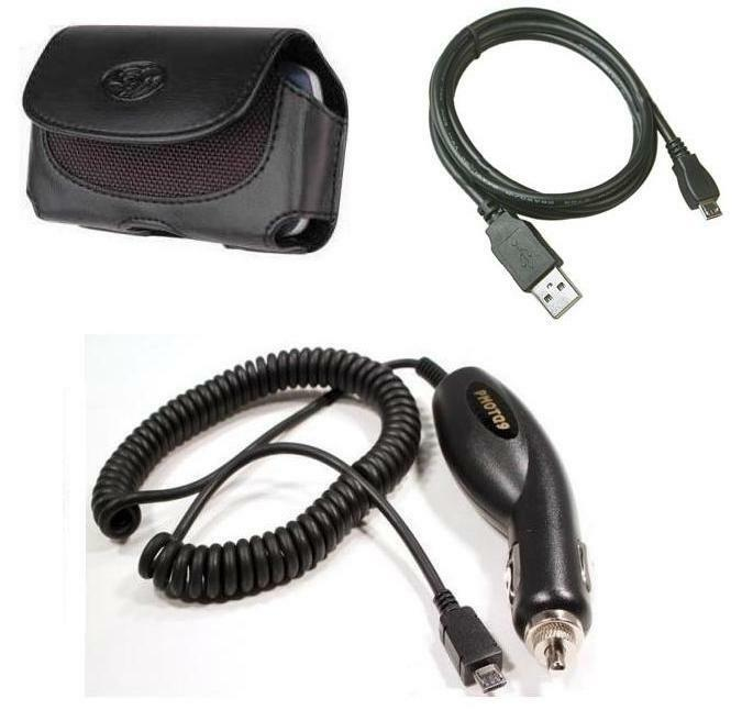 Car Charger+case+usb Cable Cord For Straight Talk Lg Optimus Showtime L86c L86g