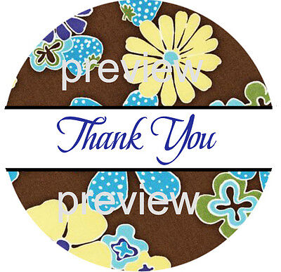 Flower Power Print 5 Thank You Sticker Labels - Laser Printed