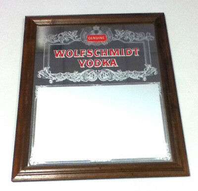 Wolfschmidt vodka bar sign beer signs 1 wood framed glass mirror display YB4